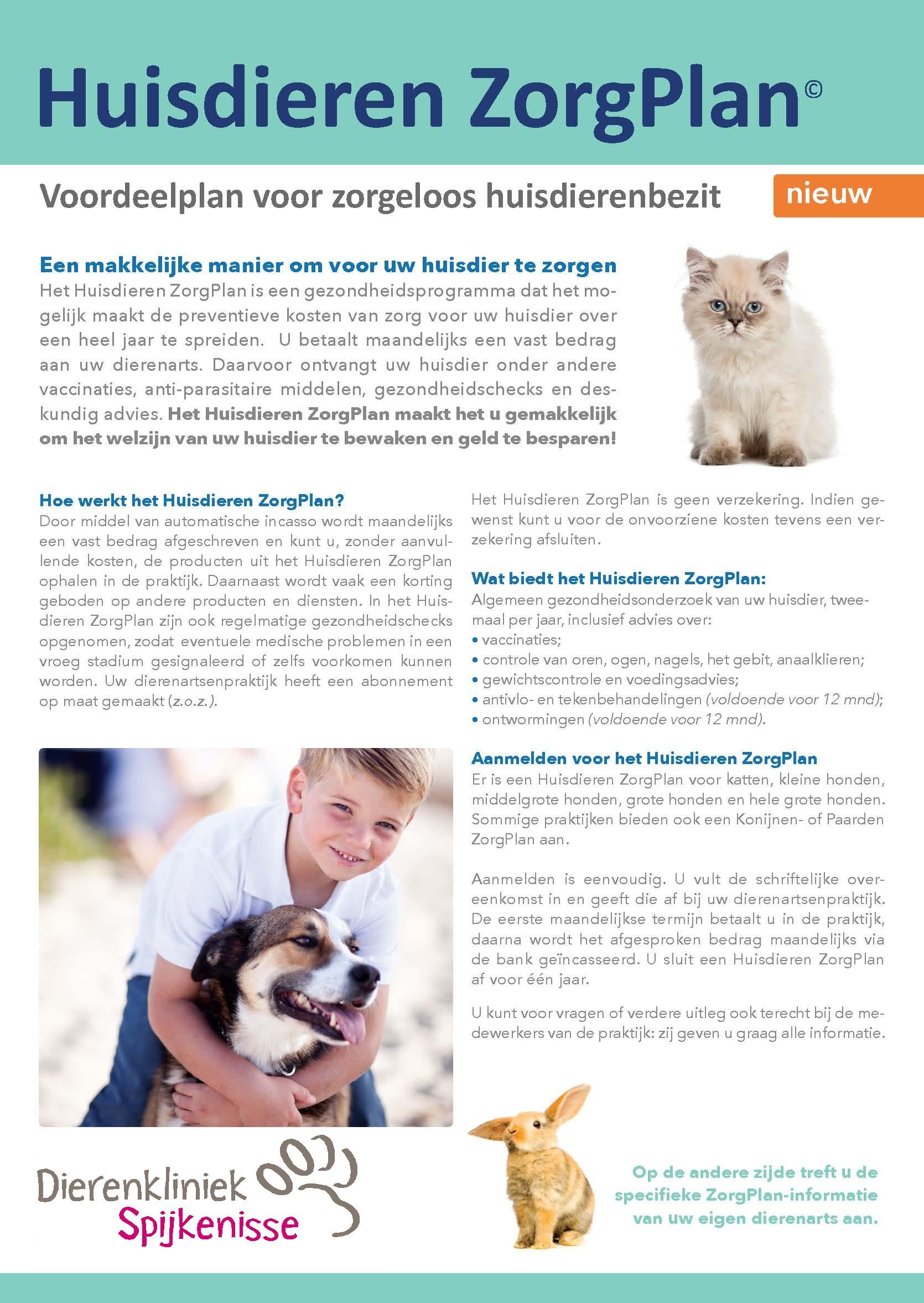 Folder Huisdieren ZorgPlan voor diereigenaren DKS